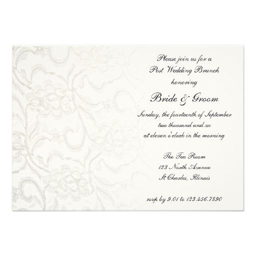 White Lace Post Wedding Brunch Invitation