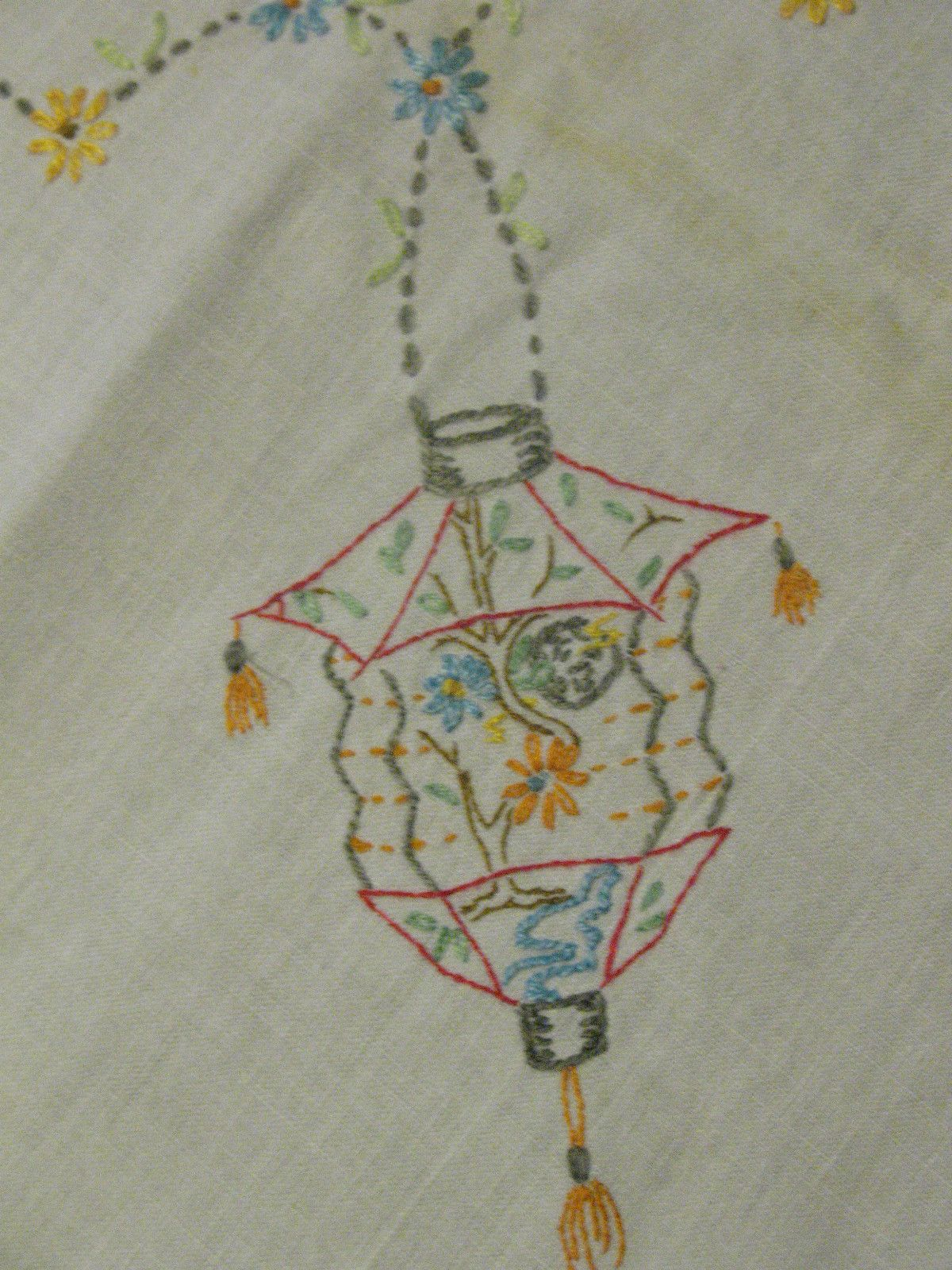Vintage Embroidered Cotton Tablecloth Card Tablecloth Chinese Lantern Chinese Lanterns Textiles Artwork Cotton Tablecloths
