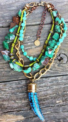 Layering Necklace Beaded Necklace Amazonite Necklace Horn Necklace Tusk Necklace Statement Necklace Boho Necklace Boho Jewelry
