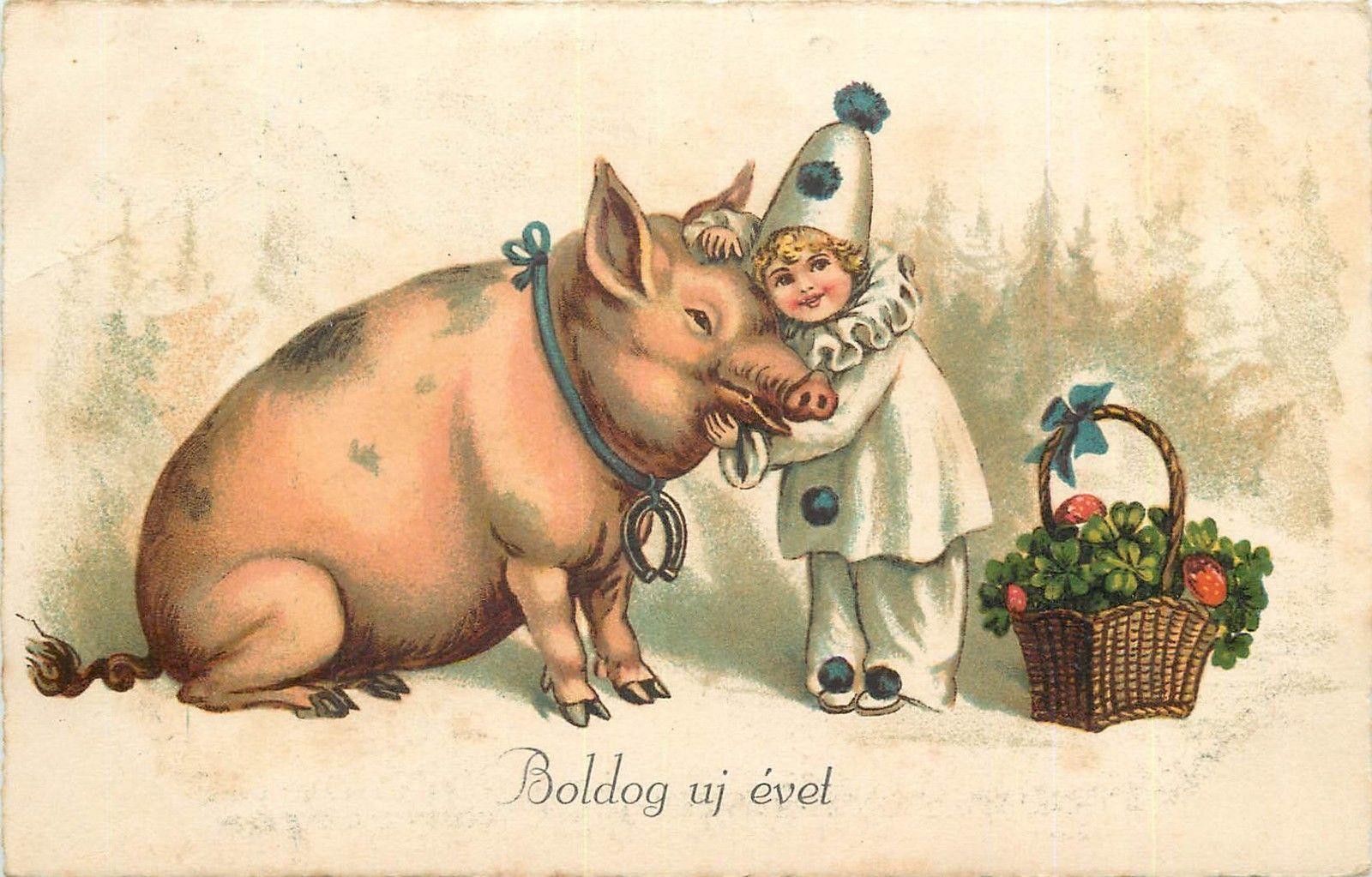 Ретро открытки с годом свиньи, кролики