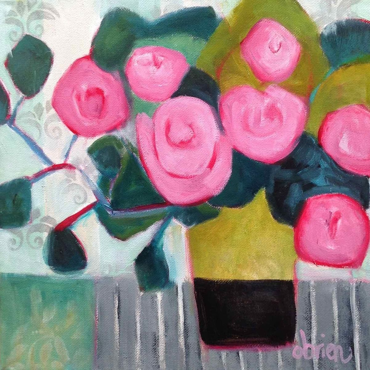 "Contemporary Painting - ""Pink Roses, Green Vase"" (Original Art from Annie OBrien Gonzales)"