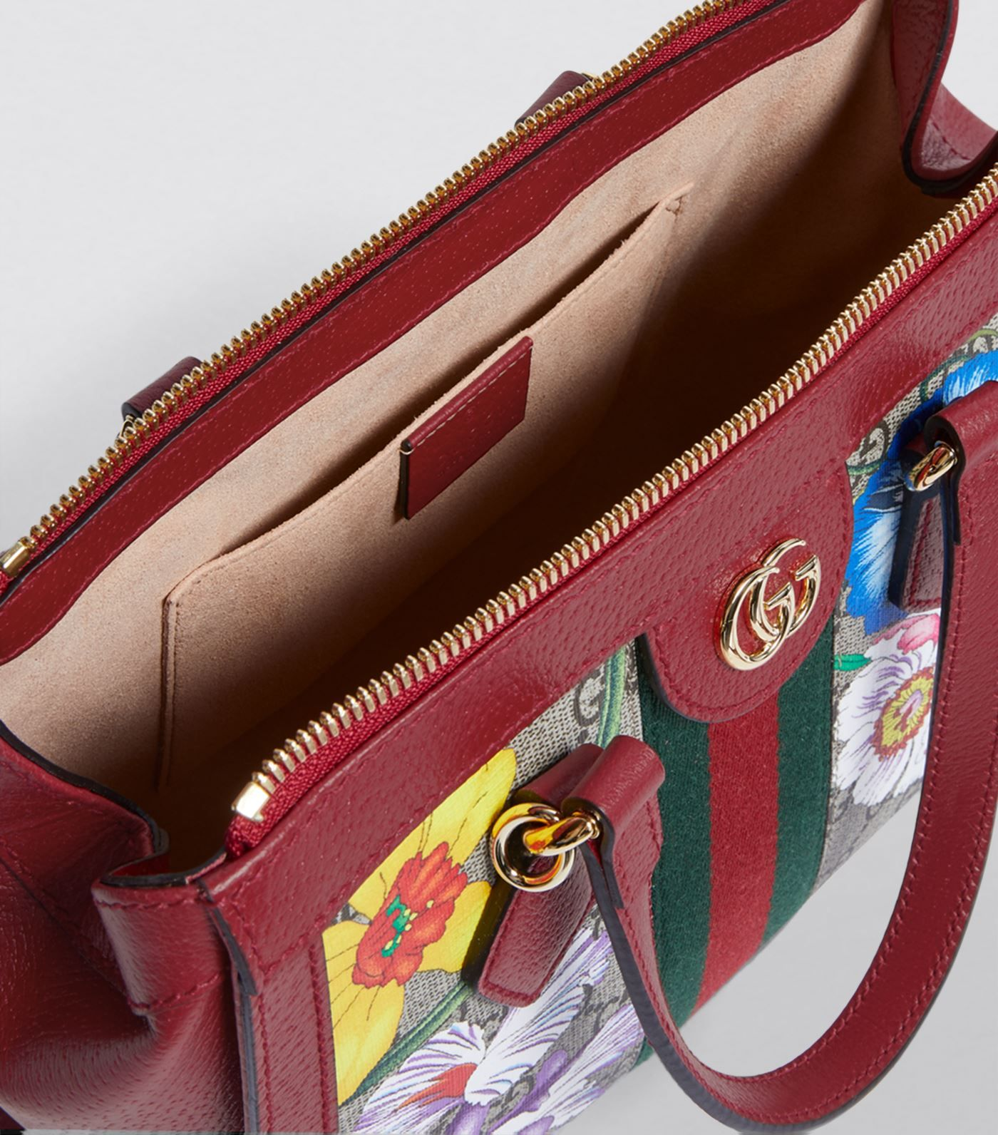 Gucci red Ophidia Flora TopHandle Bag Harrods UK in