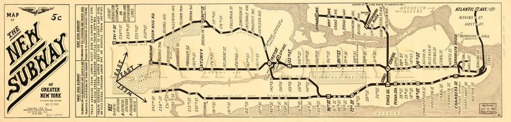 Greater New York Subway Map.Details About Huge Greater New York City Subway Map 1918 Vintage