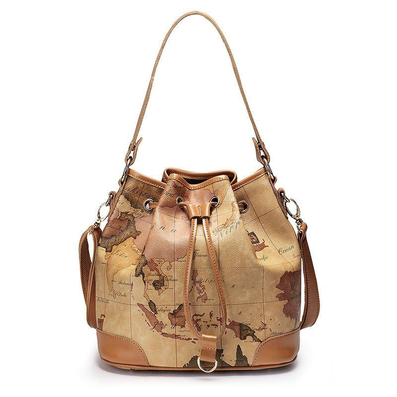 World Map, Genuine Leather Bucket Handbag looks great and wears well. Perfect for travel