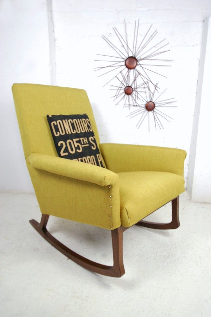 1950s Scandinavian Re Upholstered Rocking Chair Upholstered