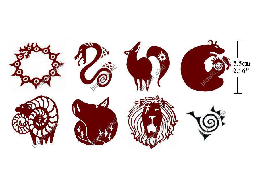 Cosplay Tattoo Sticker The Seven Deadly Sins Meliodas Diane King Ban Gowther