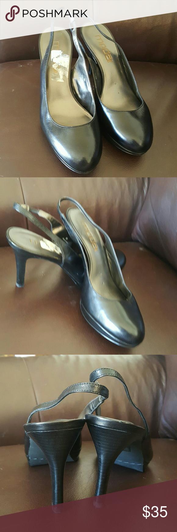 Round toe platform slingback leather pumps Great work shoes, never worn, brand new!! Moda International Shoes Heels
