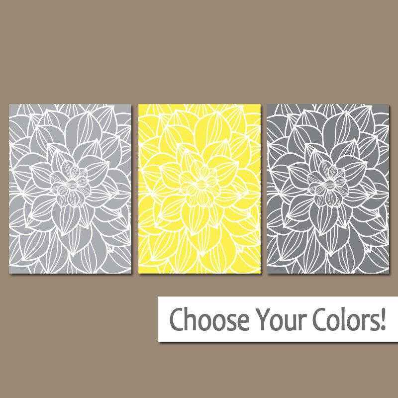 Yellow Gray Flower Wall Art- CANVAS or Prints- Bathroom Artwork ...