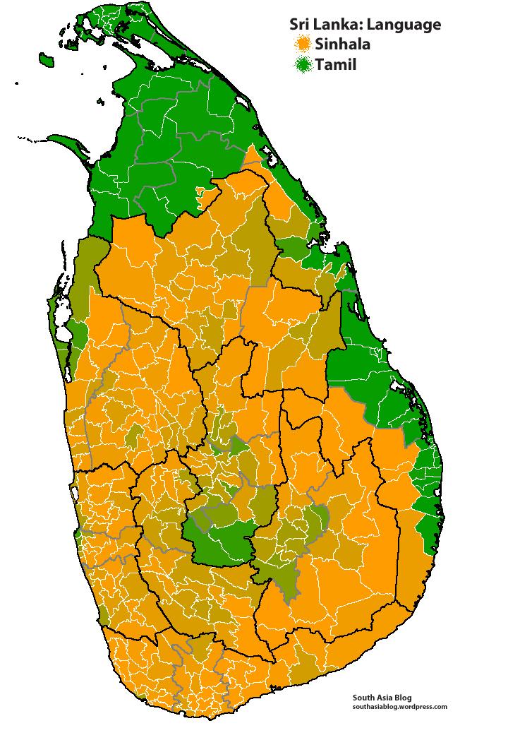 Sri Lanka language map by South Asia blog #map #srilanka ...