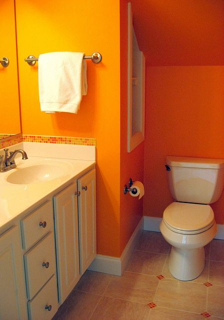 Bright Orange Bathroom Orange Bathrooms Tile Bathroom Modern Bathroom Paint
