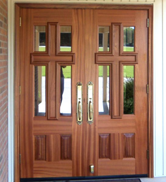 Custom Church 4 Lite Glass Cross Doors Solid Wood Doors By