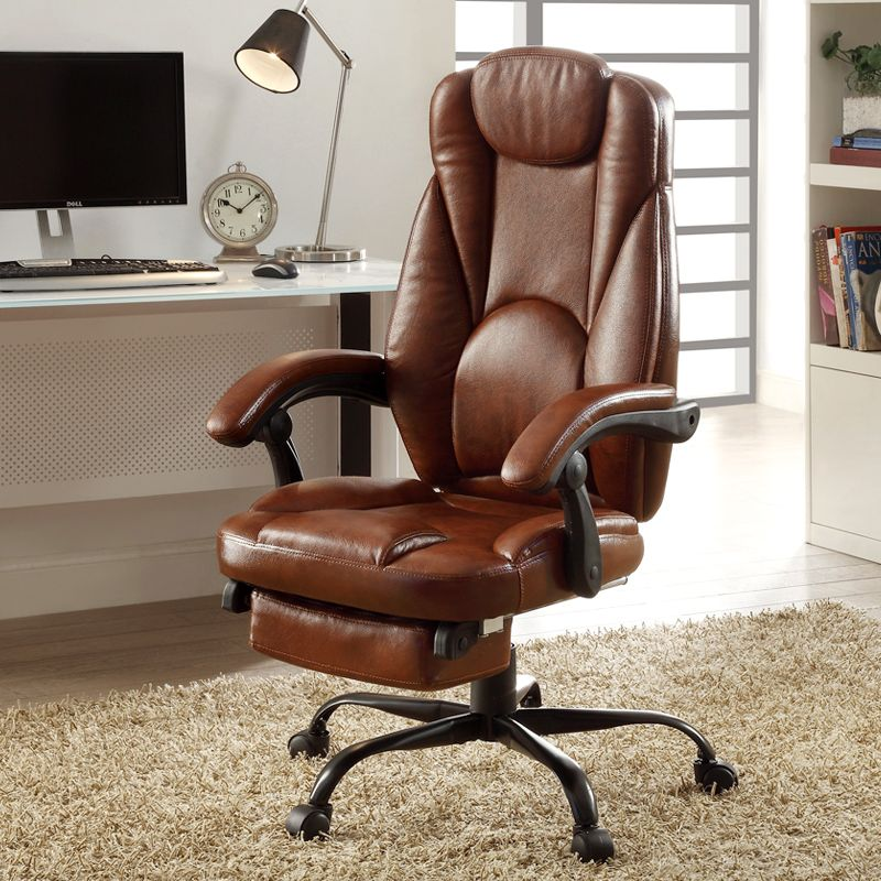 Modern Leather Big U0026 Tall Executive Office Chair With Wheel/Footrest Racing  Ergonomic Leather Recliner Office Chair Brown Color