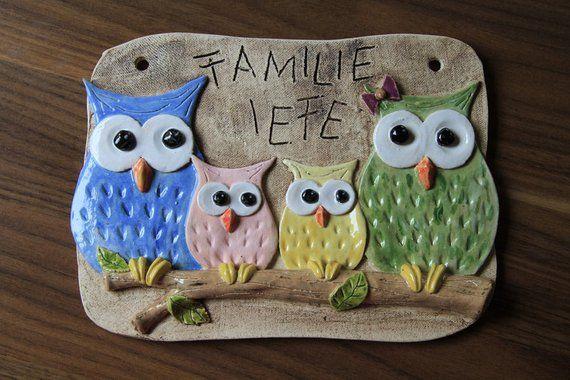 Owl door sign 4-part, doorbell sign, ceramic, clay, handmade …