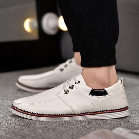 mens casual faux leather slipon canvas shoes  leather