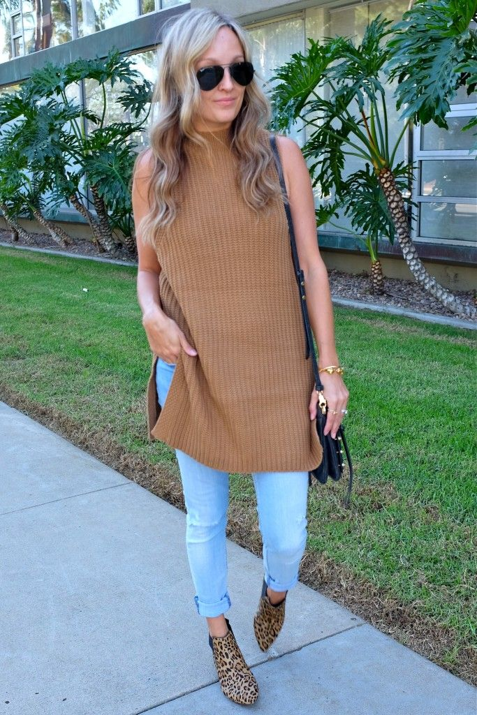 Sleeveless sweater tunic, french connection booties, San Diego fashion blogger, Sarah Lieber