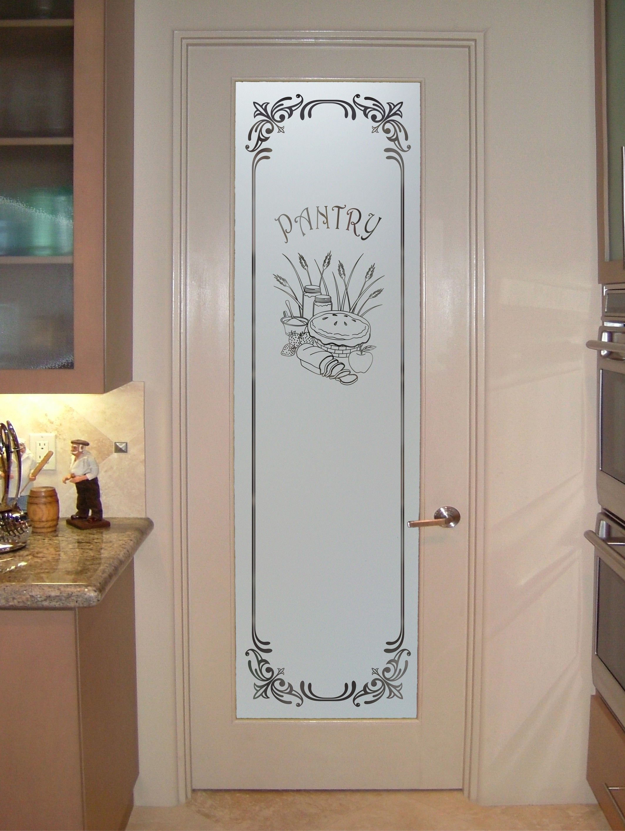 White frosted glass interior doors kitchen pinterest for Kitchen cabinets lowes with decorative metal disc wall art