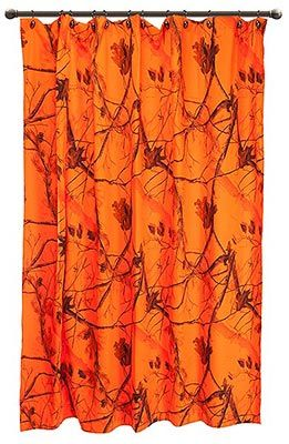 Ap Blaze Orange Camouflage Shower Curtain Western Shower Curtain