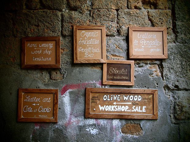 Unexpectedly in Orvieto Shop signs, Auguries of