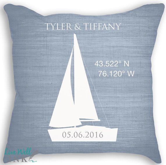 Sailboat Nautical Pillow Longitude Latitude By Livewellink