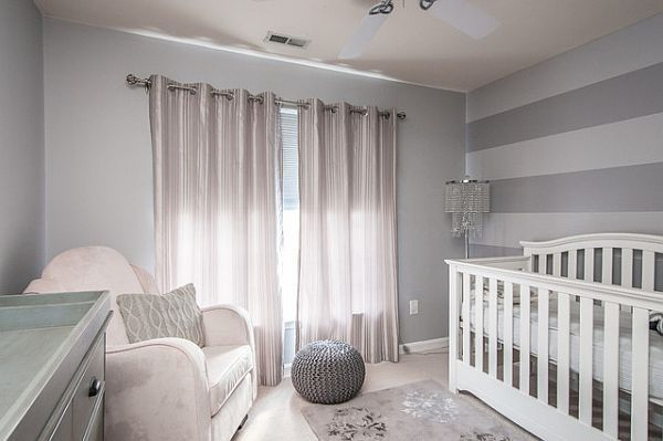 Adorable Nurseries With Cozy And Snazzy Colors: Cool Decoration Room With Shades Of Grey Design Addition Crystal Floor Lamp And White Sofa With Grey Chest Of Drawer And White Cradle