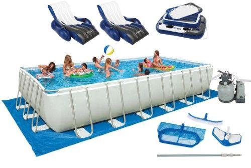 Intex 32\' x 16\' x 52\' Ultra Frame Rectangular Swimming Pool (Blue ...