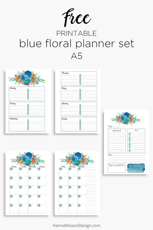 Blue floral planner calendar   Planners