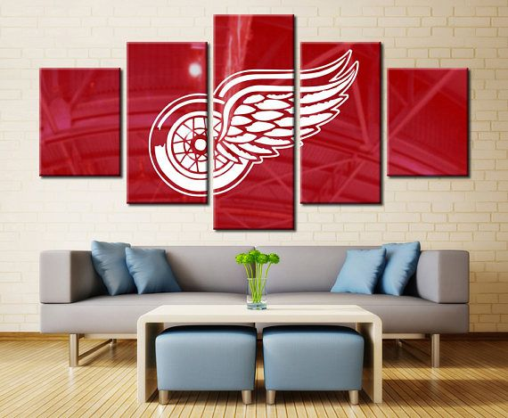 Detroit Red Wings Wall Art Home Decor / NHL Red Wings Sports Canvas Print /  Gifts For Him / Hockey Wall Art