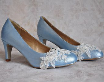 Wedding Shoes Blue Light Pumps Bridal With Ivory Lace Lique
