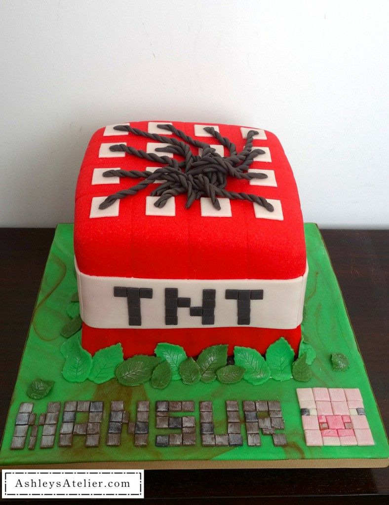 The Making Of Minecraft Tnt Cake And Cupcakes Cakes Too Pretty To