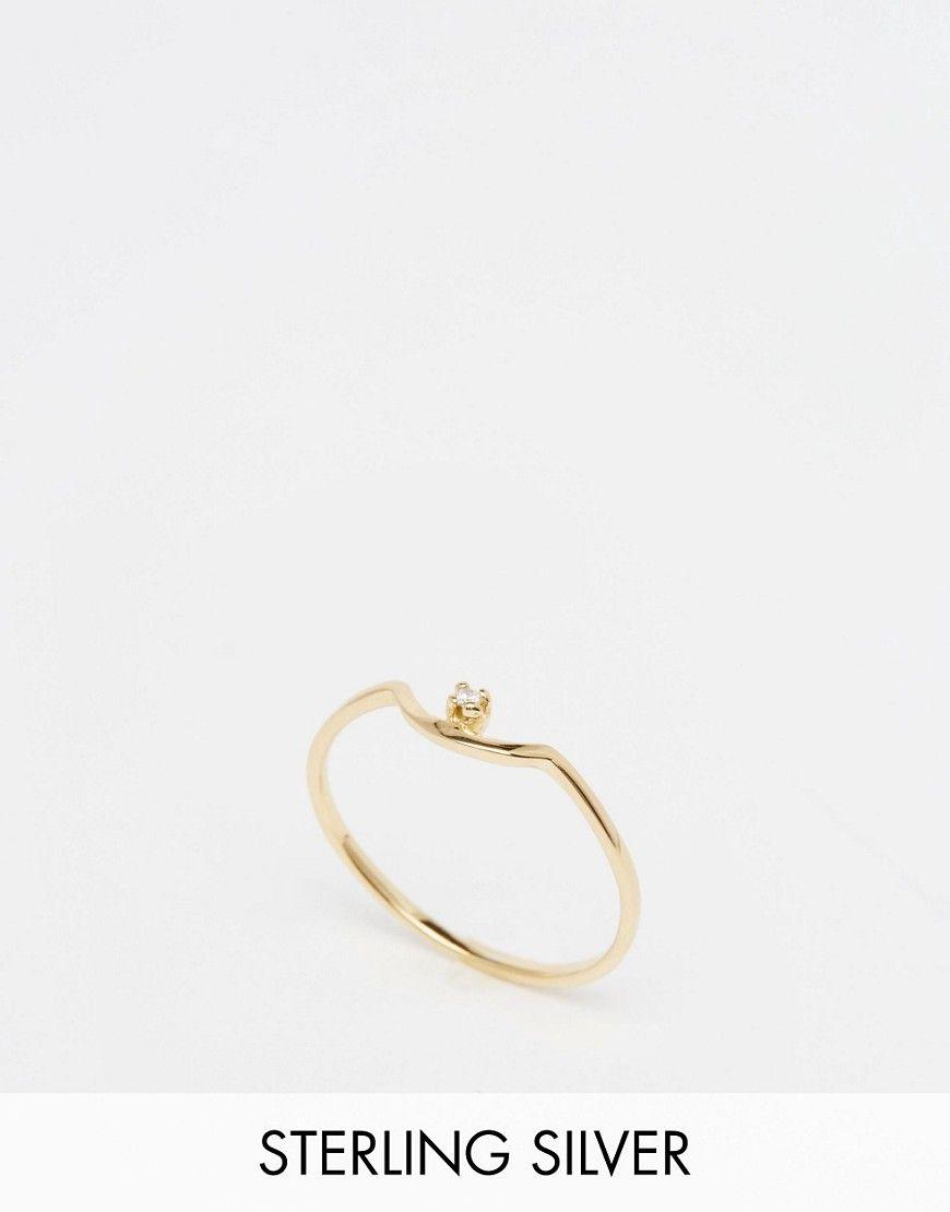 Immagine 1 di ASOS - Anello in argento sterling placcato oro con cristallo e mezzaluna piccola