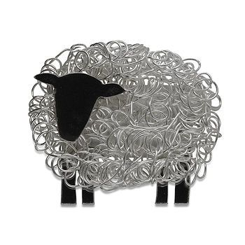 Silver Sheep Brooch Facing Left