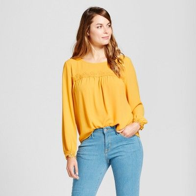838fed7cbe8 Women s Lace Detail Blouse - A New Day™ Gold   Target