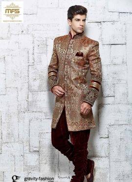 25a58503e4 Banarasi silk indo western wear men sherwani in Copper color | indo ...
