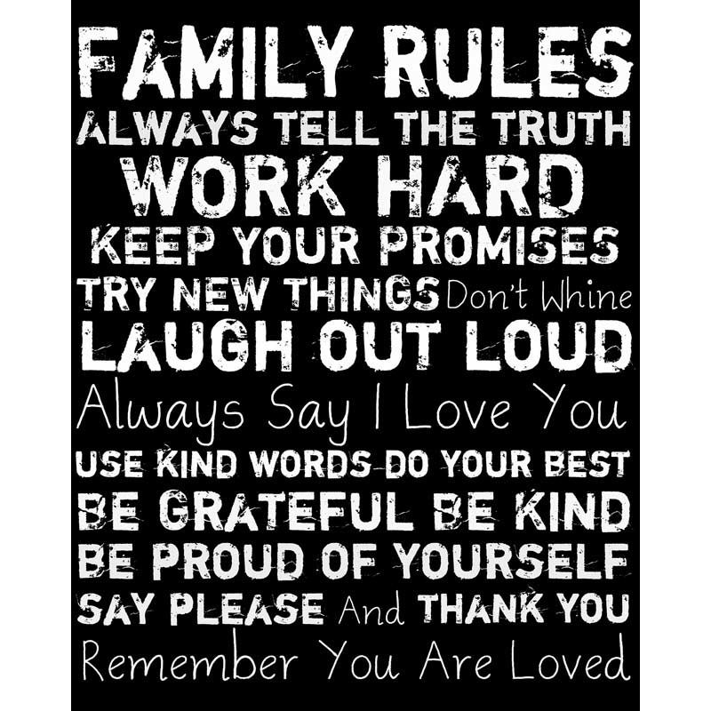 Let Mom know you remember all she taught you: Tell the truth, work hard, keep promises, try new things, don't whine, laugh, share your love, use kind words, do your best, be grateful and kind and proud of yourself, say please and thank you, and know you are loved. Family Rules Words   Weekends Only Furniture and Mattress