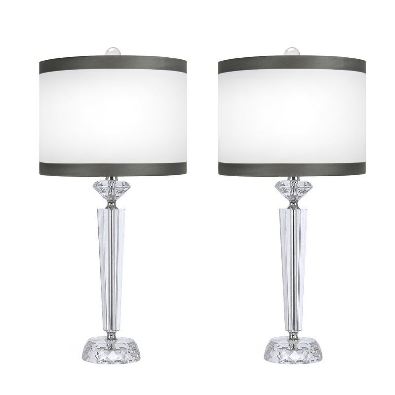House Of Hampton Mcmillin Crystal 25 75 Table Lamp Reviews Wayfair Crystal Table Lamps Table Lamp Sets Table Lamp