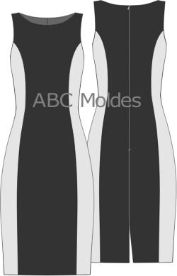 f3d049151 MOLDE VESTIDO TUBINHO RECORTES (FORRADO) | Costura | Molde vestido ...