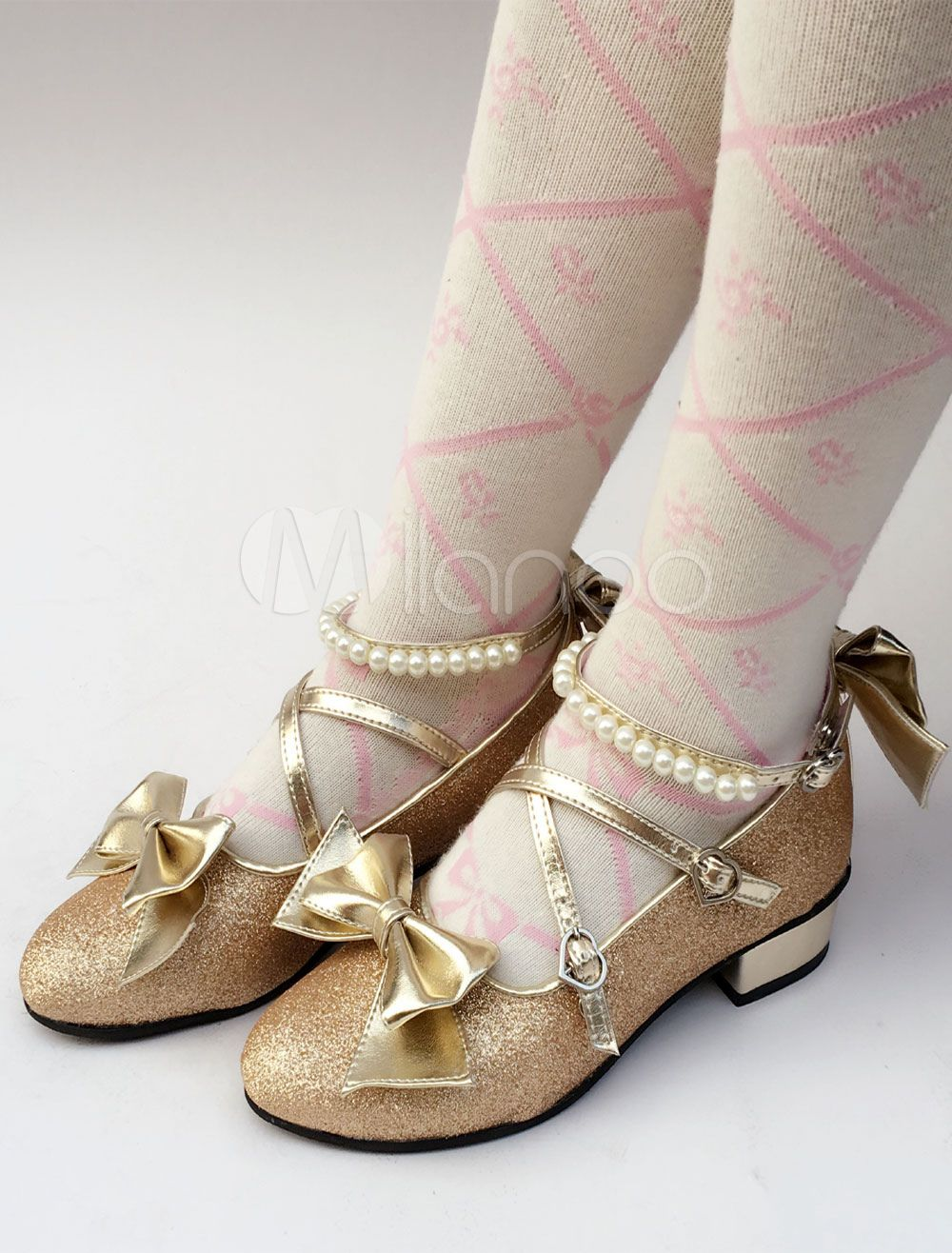 d6f473c65907 Sweet Lolita Shoes Gold Glitter Pearl Bow Cross Front Heeled Lolita Pumps   Gold