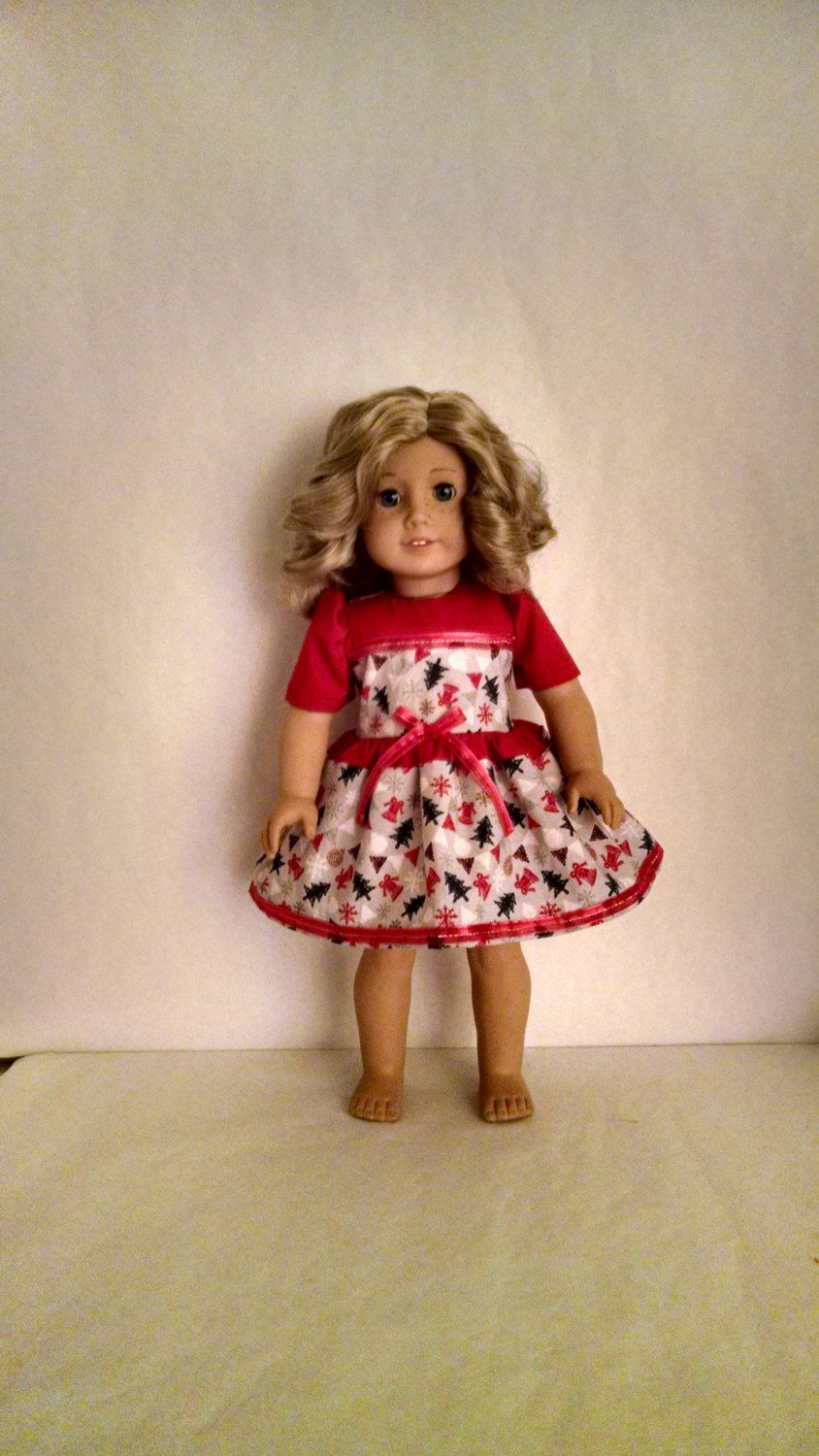 Pink dress for girl   inch Doll Clothes handmade to fit American Girl doll Christmas