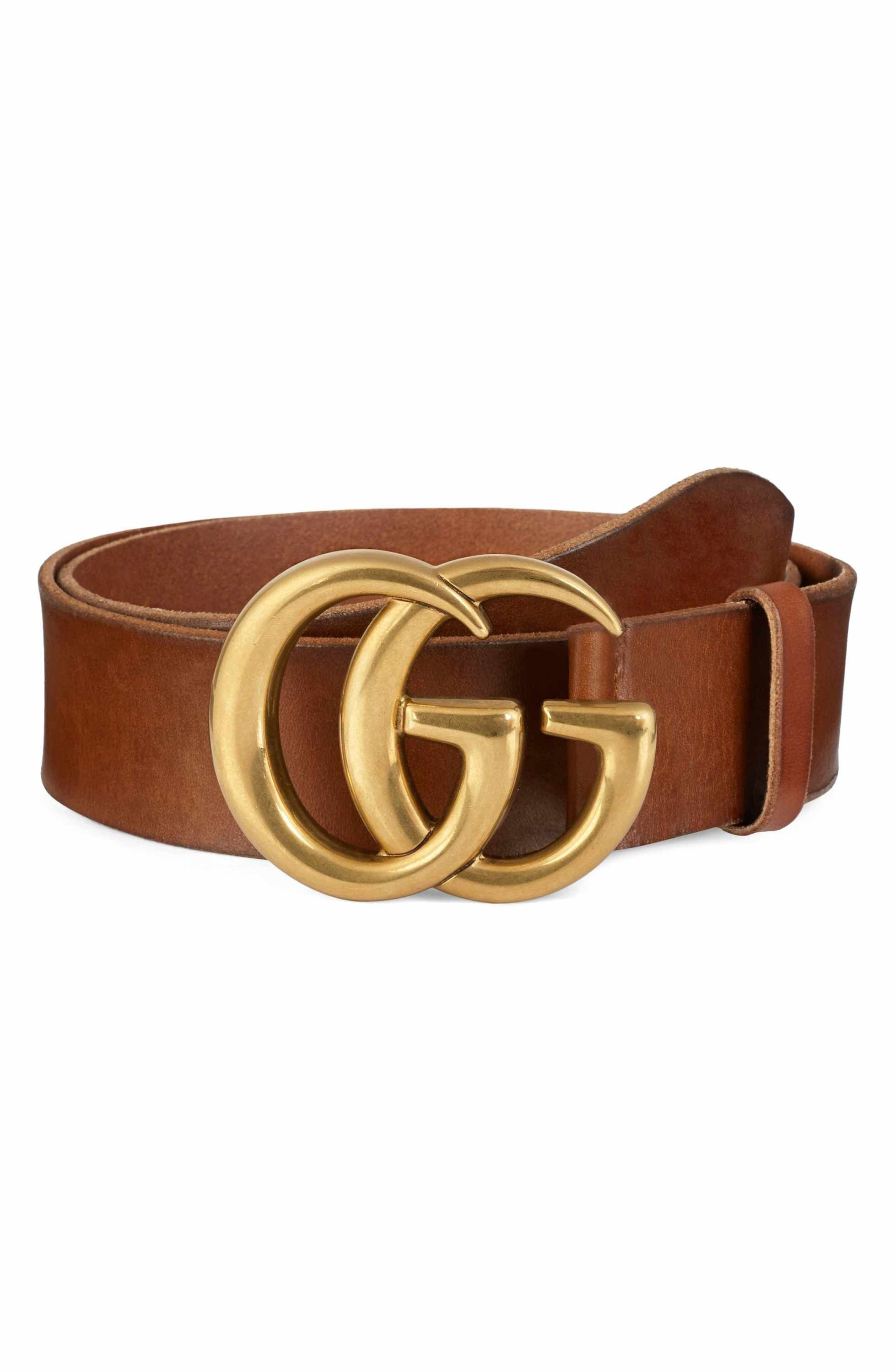 1f5f8bcd8 Main Image - Gucci Running Gold Leather Belt | Lusting After ...