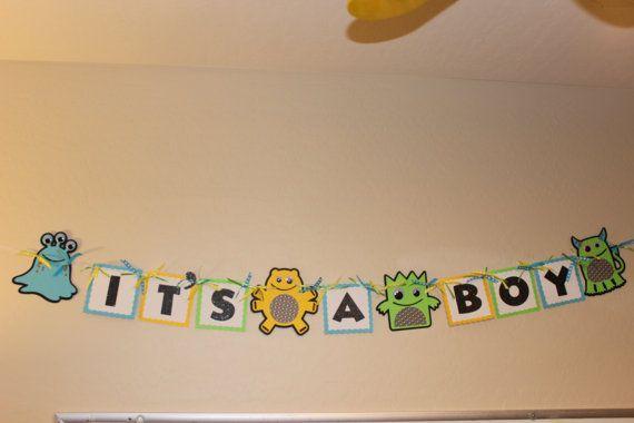 Cute Little Monster It's a Boy banner by FunCreationsByElaine