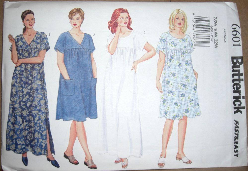 Butterick 6601 MuuMuu Caftan Pullover Summer Dress Sewing Pattern ...