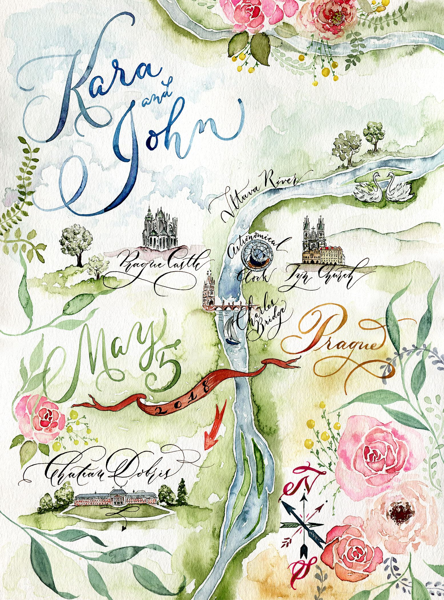 Wedding Map Watercolor Wedding Map Invitation Map Illustration