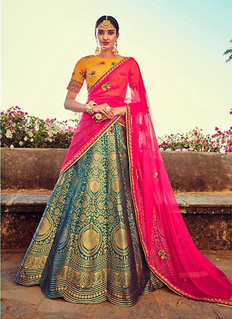 53dfa8da50 Color/Drape&Fold/Pattern/Embellishment - Gorgeous Banarasi Silk Lehenga  Indian Bridal Lehenga,