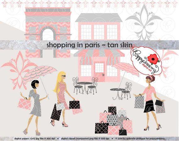 Shopping In Paris Tan Skin Fashionistas Clip Art Pack Card Making