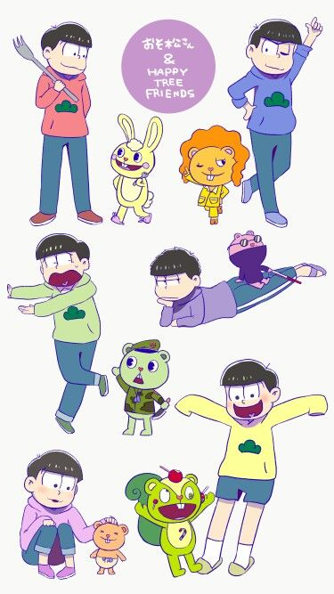 lookie what i found happy tree friends and osomatsu san are crossover together tbh tho i was paying attention to di happy tree friends cute art childhood