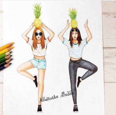 Pineapple Bff Drawings Best Friend Drawings Drawings