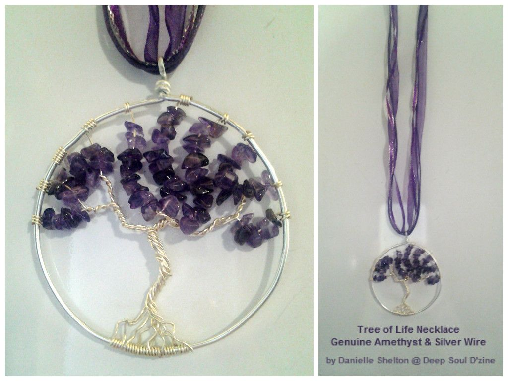 Tree of Life Necklace w/ Genuine Amethyst Adjustable 16in-18in, $30