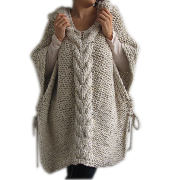 Tweed Beige Hand Knitted Poncho with Hood | Poncho mit kapuze ...