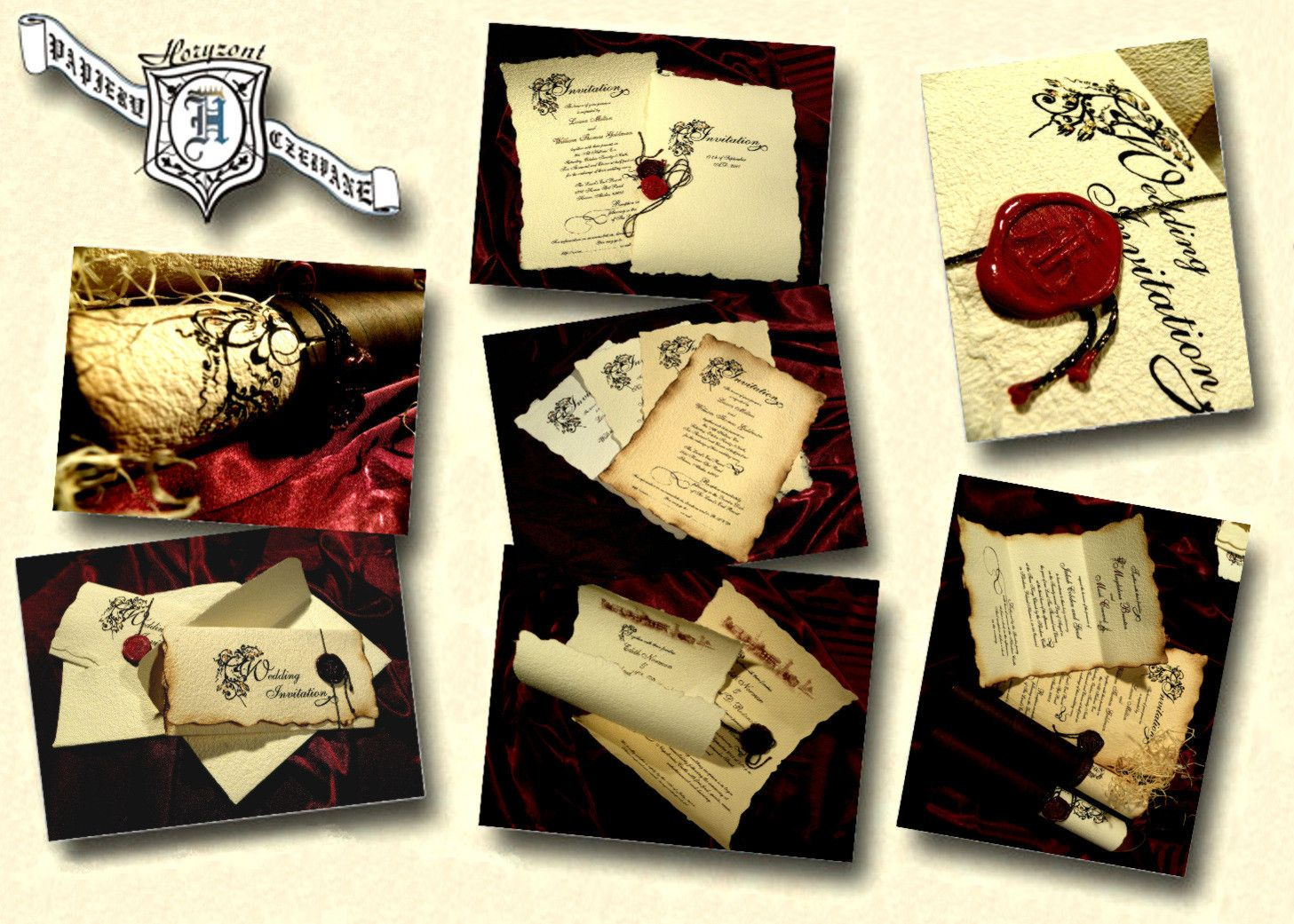 Parchment Old English or Renaissance themed wedding invitations ...