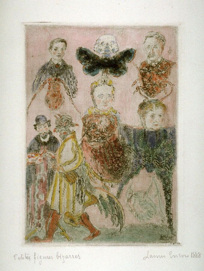 James Ensor, Small Bizarre Figures--My Friends Animalized. The Rousseaus and Ensor, 1888